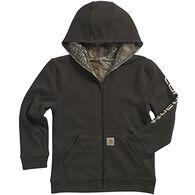 Carhartt Boys' Camo Logo Sleeve Reversible Fleece Full-Zip Hooded Sweatshirt