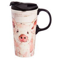 Evergreen Pretty Pink Pig Ceramic Travel Cup w/ Lid