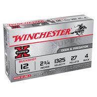 "Winchester Super-X 12 GA 2-3/4"" 27 Pellet #4 Buckshot Ammo (5)"
