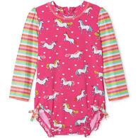 Hatley Infant Girl's Prancing Unicorns Baby Rashguard Swimsuit