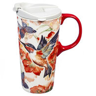 Evergreen Hummingbird and Butterflies Ceramic Travel Cup w/ Lid