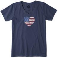 Life is Good Women's Watercolor Flag Heart Crusher Vee Short-Sleeve T-Shirt