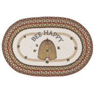 Capitol Earth Bee Happy Oval Patch Braided Rug