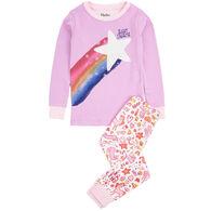 Hatley Girl's Unicorn Doodles Applique Organic Cotton Pajama Set