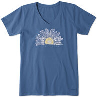 Life is Good Women's Watercolor Daisy Crusher Vee Short-Sleeve T-Shirt