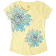 Life is Good Girl's Delightful Daisy Smiling Smooth Short-Sleeve T-Shirt