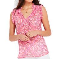 Vineyard Vines Women's Island Scarf Print Ruffle Popover Short-Sleeve Shirt