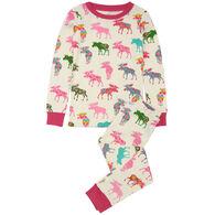 Hatley Toddler Girl's Little Blue House Patterned Moose Pajama Set