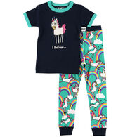 Lazy One Girl's I Believe Unicorn PJ Set