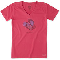 Life is Good Women's Flip Flop Engraved Crusher Vee Short-Sleeve T-Shirt