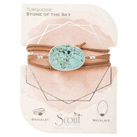 Scout Curated Wears Women's Suede/Stone Wrap - Turquoise/Silver Bracelet/Necklace