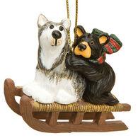 Big Sky Carvers Bear Sled Dog Ornament