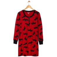 Hatley Little Blue House Women's Moose On Red Night Dress