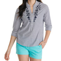 Southern Tide Women's Samantha Embroidered Popover Long-Sleeve Shirt