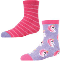 MeMoi Girl's Unicorn Fuzzy Sock, 2-Pack