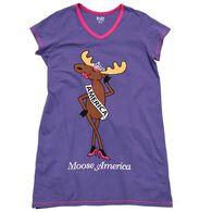Lazy One Women's Moose America V-Neck Nightshirt