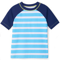 Hatley Boy's Blue Stripe Short-Sleeve Rashguard Top