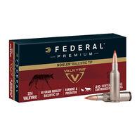 Federal Premium 224 Valkyrie 60 Grain Nosler Ballistic Tip Varmint Rifle Ammo (20)