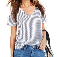 Vineyard Vines Women's Striped Linen V-Neck Short-Sleeve Shirt