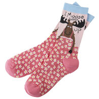 Hatley Little Blue House Women's I Moose Wake Up Crew Sock