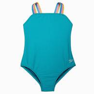 Speedo Girl's Ribbed One-Piece Swimsuit