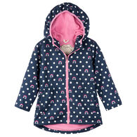 Hatley Girls' Dots and Rainbows Microfiber Rain Jacket