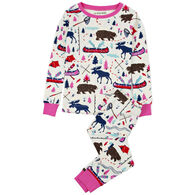 Hatley Toddler Girl's Little Blue House Pretty Sketch Country Pajama Set