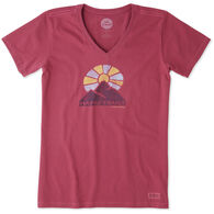 Life is Good Women's Happy Trails Crusher Vee Short-Sleeve T-Shirt