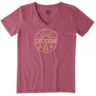Life is Good Women's Pines and Sun Cool Vee Short-Sleeve T-Shirt