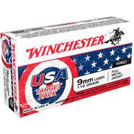 Winchester USA Target Pack 9mm 115 Grain FMJ Handgun Ammo (50)