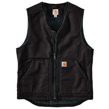 Carhartt Mens Big & Tall Washed Duck Sherpa-Lined Vest