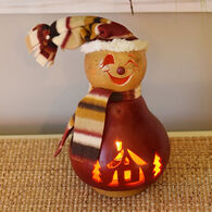 Meadowbrooke Gourds Philip Small Lit Girl Snowman Gourd