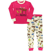 Lazy One Toddler Girl's Duck Duck Moose Long-Sleeve Pajama Set