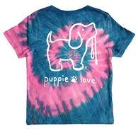 Puppie Love Girl's Bubble Gum Tie Dye Pup Short-Sleeve T-Shirt