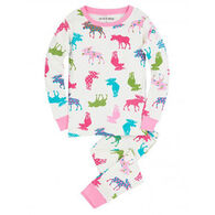 Hatley Girls' Patterned Moose Pajama Set
