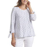 Habitat Women's Micro-Stripe Boatneck Tie Sleeve Shirt