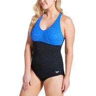 Speedo Women's Pebble Texture Colorblock Swimsuit