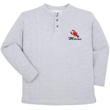 ESY Womens Maine Lobster Two Button Henley Sweatshirt