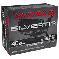 Winchester Silvertip 40 Smith & Wesson 155 Grain Defense JHP Handgun Ammo (20)