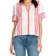 Johnny Was Women's Camille Flutter Sleeve Short-Sleeve Blouse Top