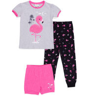 Noruk Girl's Flamingo PJ Set, 3-Piece