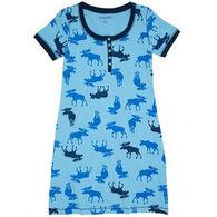 Hatley/Little Blue House Women's Blue Moose Short-Sleeve Nightdress