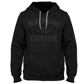 Boston Sports Apparel Mens All Black Reflective New England VS Everyone Hooded Sweatshirt
