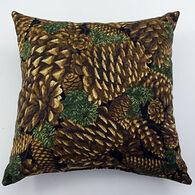 """Moosehead Balsam Fir 5"""" x 5"""" Pine Cone Black Pillow"""