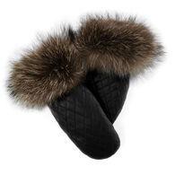 Mitchies Matchings Women's Leather Mitt with Fur Trim
