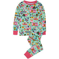 Hatley Girl's Little Blue House Glamping Pajama Set