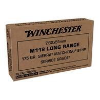 Winchester M118 Long Range 7.62x51mm 175 Grain Sierra Matchking HPBT Rifle Ammo (20)