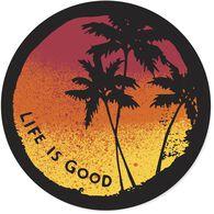 "Life is Good Sunset Palms 4"" Circle Sticker"