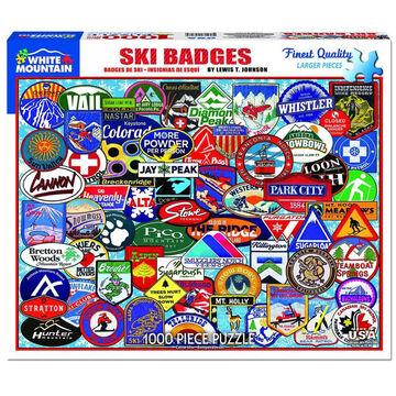 White Mountain Jigsaw Puzzle - Ski Badges