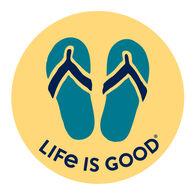 "Life is Good Flip Flops 4"" Circle Sticker"
